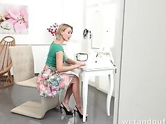 Faux Titted Cougar Gets Herself Off
