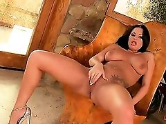 Nasty Brown-haired Kerry Is A Very Sultry Stunner With Insatiable Fantasy. The Chick Is Massaging Her Hairless Puss And Screams With Pleasure. Then Sh