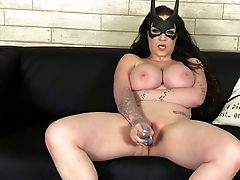Crazy Costume Play Hoochie Fucks Her Opened Up Twat With Fake Penis