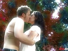 Stunning Dark Haired Ashlynn Brooke Is Fucked By Her Paramour In The Garden