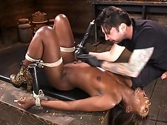 Black Like Coal Honey Ana Foxxx Gets Her Bung And Poon Fucked And Penalized