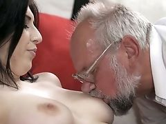 Amazing Brown-haired Sheril Blossom Has Lured Old Pervert To Rail His Dick