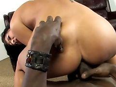 Perverted All Natural Brown-haired Hoe Ashli Orion Hops On Stiff Black Dick