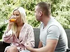 Outdoor Make-out Finishes With Lola Being Fucked Hard On The Sofa