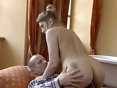 Blonde Doll Keeps Broad Spread For Older Man