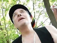Smokin Oldman Shoves Sleek Russian Macy Nata In The Forest