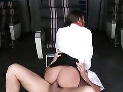 Brown-haired Mischa Brooks With Big Bum And Trimmed Muff Gives Deep Fellatio To Ramon Nomar