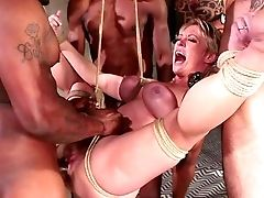 Dee Williams Gets Fucked Hard During Massive Interracial Group Sex
