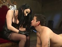 Promiscuous Mistress Veruca James Penalizes Tied Up Dude With Crazy Strap Dildo