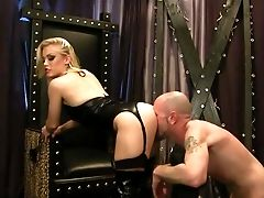 Beautiful Blonde Mistress Ash Hollywood Clothed In Black Gets Her
