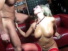 Revved On Bone Thirsty Blonde Whore Daria Glower With Massive Tits And Sugary-sweet Donk In Crimson Stockings And High Stilettos Loves Eating Stiff Ro