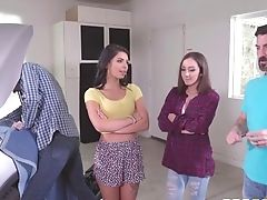 Brazzers - Step Sisters Share Stiffy Behind Dads Back