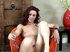 Crazy Babe Karlie Montana Wears Black Footwear And Masturbates With The Big Glass Fake Penis