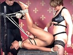 Pervy Dude And A Raunchy Slagg Ban A Bound-up Black Filly