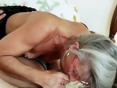 Old Spoiled Biotch In Glasses Performs Awesome Blowjob To Youthful Man In Sixty-nine Style