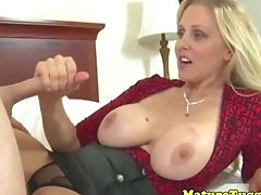 Bigtitted Cougar Jerking On Knob