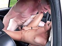Back Seat Extreme Hard-core Along Youthfull Black-haired Bimbo