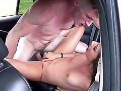 Back Seat Extreme Hard-core Along Youthfull Black-haired Bimbo