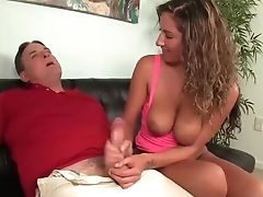 Horny Nubile Wanks Off A Matures Man