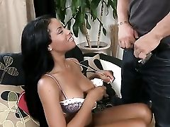 Dark Haired Rihanna Rimes With Round Butt Loves Providing Suck Job