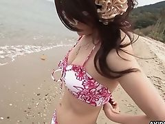 Asian Cutie Aya Takes Off Swimsuit And Gets Her Hairy Cunt Fucked