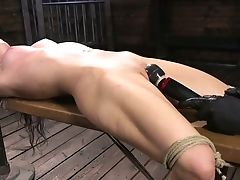 Awesome Bondage & Discipline Queen Serena Blair Gets Hog Tied And Masturbated Rough