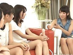 Horny Japanese Honeys Make Ayaka Tomoda Drop Her Clothes. Hd